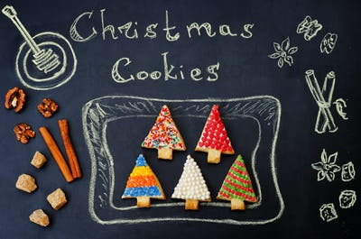 colored Christmas tree cookies