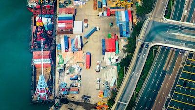 Aerial view of cargo ships at port terminal. Hong Kong
