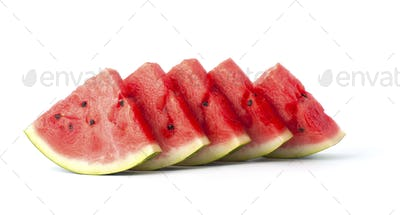 Five slices of watermelon on a white background.