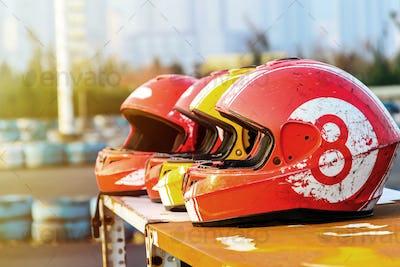 group of helmet for karting in race