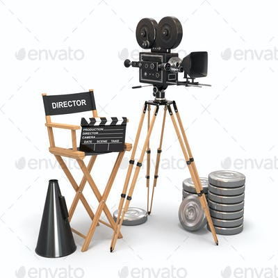 Movie composition. Vintage camera, director chair and reels.
