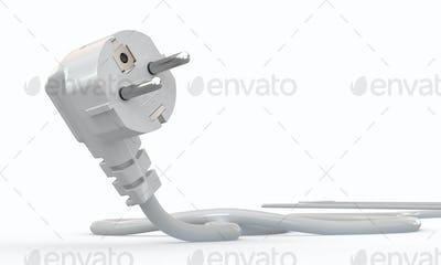 White electric plug on white background