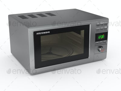Closed metallic microwave. 3d