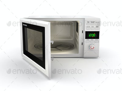 Open white microwave. 3d