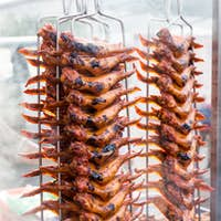 BBQ chicken wings at a street bazaar during the fasting month of Ramadan