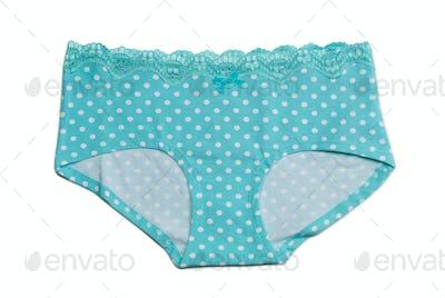blue shorts with polka dots