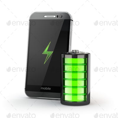Mobile phone charging concept. Smartphone and battery charge ind
