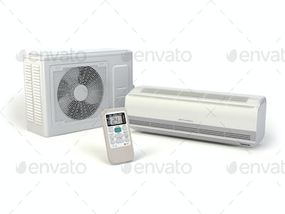 Air conditioner system isolated on white.