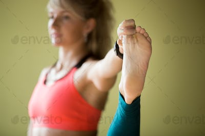 Close-up of Extended Hand-To-Big-Toe pose