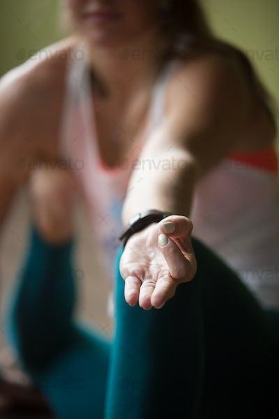 Close-up of Yoga Dandasana Pose