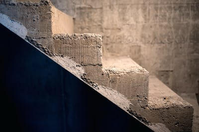 Stairs architecture with symmetric elements. Cement concrete staircase on construction site