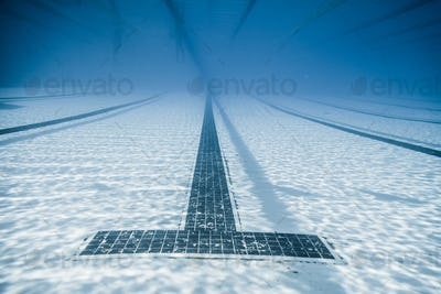 Black Line Starts and Corridor of an Olympic Pool