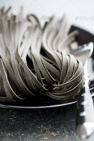 black noodles with squid sepia ink