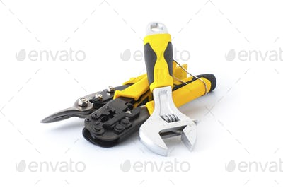 Hand tools on a white background.