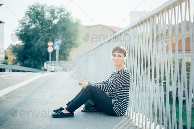 young handsome caucasian brown straight hair woman sitting on a