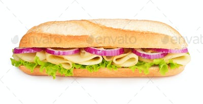 baguette with cheese, lettuce and red onion