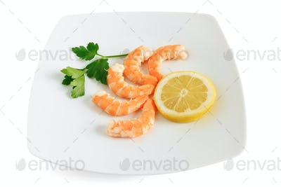 shelled shrimps with lemon
