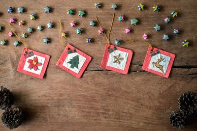 Vintage gift box on old wooden background, Christmas concept