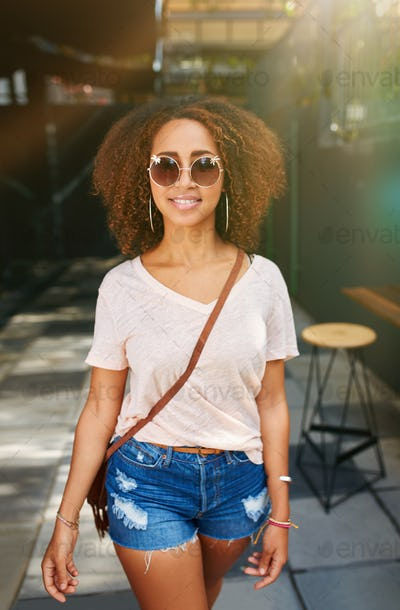 Stylish african woman outdoors