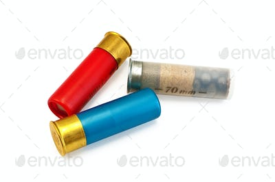 Three colored cartridges for shotguns