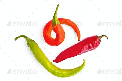 Three colorful hot peppers