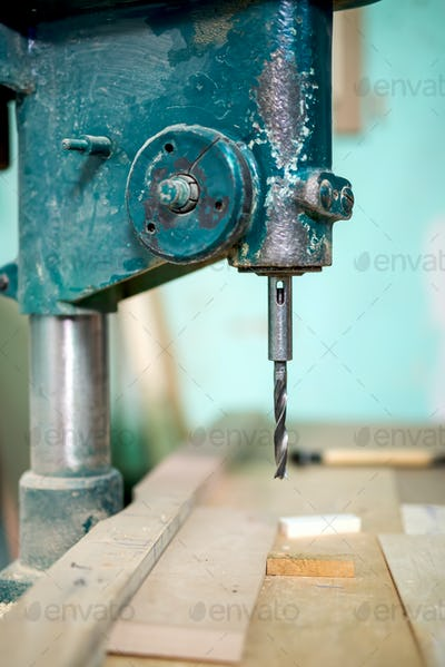 industrial milling tool, lathe and machinery at a local furniture factory