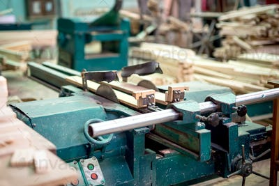 wood and furniture production plant, industrial factory with tools