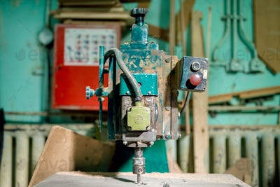industrial milling tool at local factory. Manual lathe, tools and drills