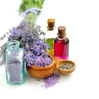 Lavender fresh and bath salt for aromatherapy and lavender oil