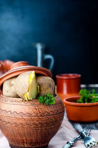 Ukrainian national dish is baked potatoes
