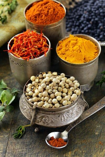 Various Spices - Curcuma, Paprika, Saffron, Coriander
