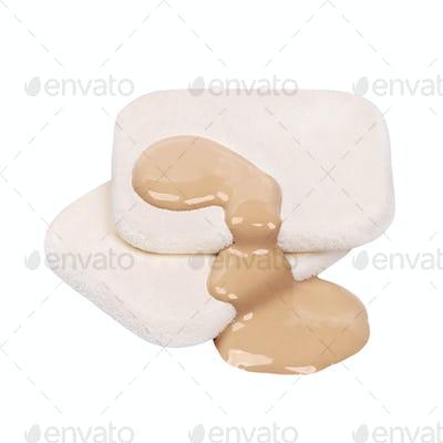 Makeup sponges with liquid foundation