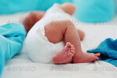 Two weeks old newborn baby's legs and bottom