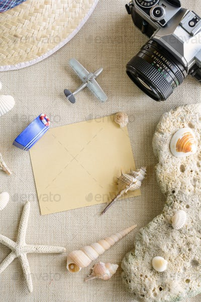 Travel and vacation accessories on sackcloth background