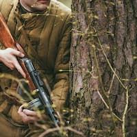 Unidentified re-enactor dressed as Soviet soldier in camouflage