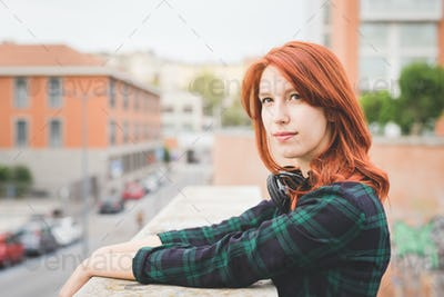Half length of young handsome caucasian redhead straight hair wo