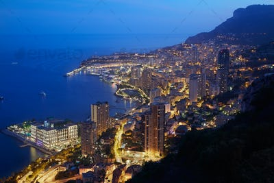 Montecarlo, illuminated city view in the evening, Monaco,