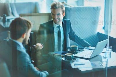 Businessmen communicating