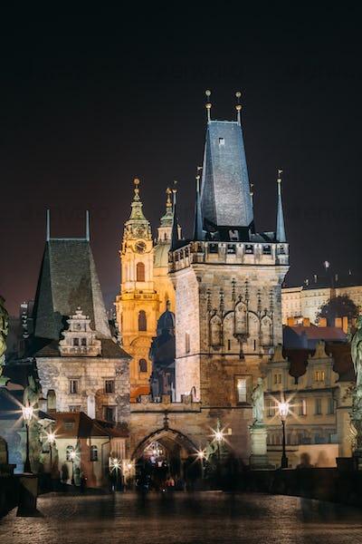 Vertical View Of Charles Bridge in Prague, Czech Republic