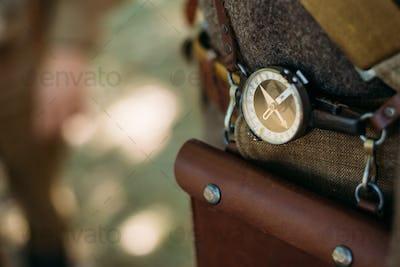 Soviet military compass on military uniform