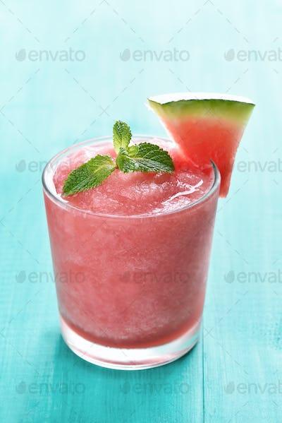 Watermelon sorbet in glass