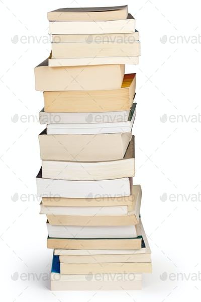 tower of books isolated on white