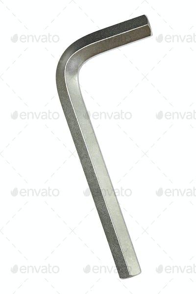 Hex metal allen L key over white background