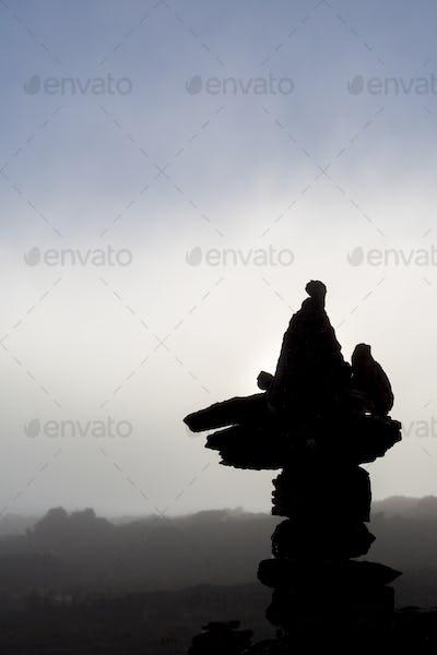 Silhouette of stones on Mt Roraima in the morning, Venezuela