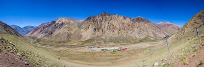 Mountain scenic view with ski lift in the Aconcagua Park. Argent