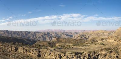 Desert, mountain and blue sky in Ischigualasto, Argentina