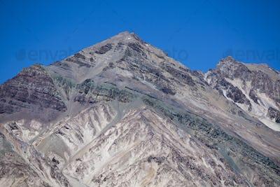 Aconcagua mountain peaks with clear blue sky. Argentina