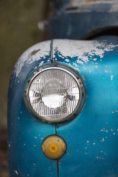 Vintage car details in historic Colonia, Uruguay