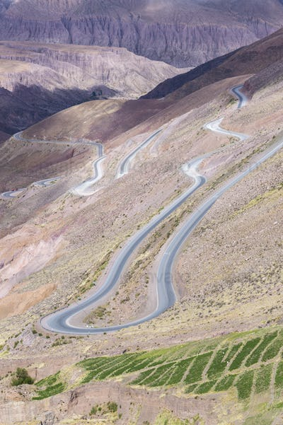Road in the colored mountain near Purmamarca, Argentina