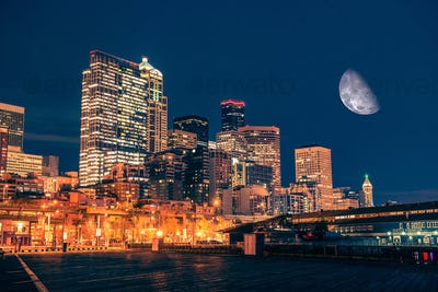 Seattle Night with Moon